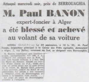 Assassinat de Paul BANON le 30 Septembre 1959 entre BRAZZA et BERROUAGHIA