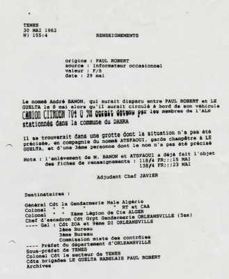 Renseignements de la Gendarmerie