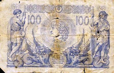 Billet de 100 f en circulation en 1911 (verso)