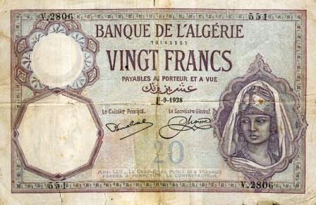 Billet de 20 f en circulation en 1928 (recto)