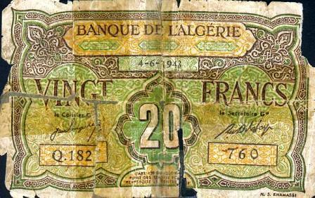 Billet de 20 f  en circulation  en 1948 (recto)