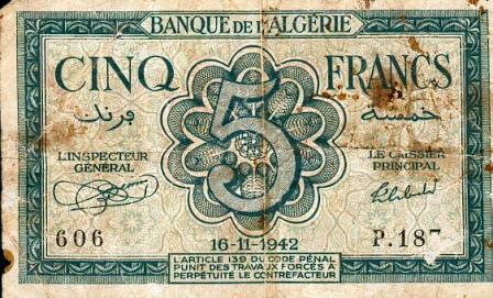 Billet de 5 f en circulation en 1942 (recto)