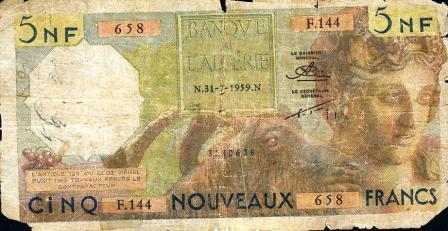 billet de 5 Nouveaux Francs en 1959 (recto)