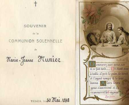 Marie-Jeanne MUNIER Communion Solennelle le 30 Mai 1948