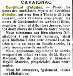 CAVAIGNAC - 26 Juin 1933 ---- Certificat d'Etudes : ---- Elise ANDREANI, mention bien Jeanne ALBENTOSA Marceau MAYLIE  Mme LECAS, institutrice