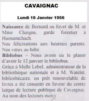 CAVAIGNAC - 16 Janvier 1956  Naissance de Bernard CHAIGNE fils du Garde-Forestier de HAOUAMCHACH