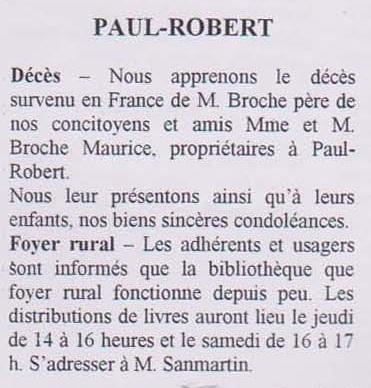 PAUL-ROBERT - Janvier 1956