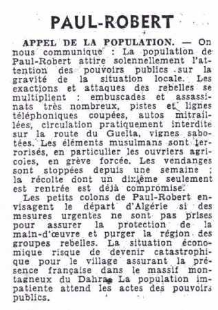PAUL-ROBERT - Octobre 1956
