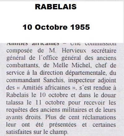 RABELAIS 10 Octobre 1955 Douar TALASSA