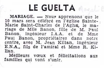 LE GUELTA - 10 Mars 1956 Mariage de Rose-Marie BANON avec Jean KILIAN