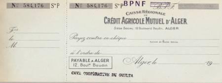 Photo-titre pour cet album: Carnet de Chèques du Crédit Agricole  Cave du GUELTA