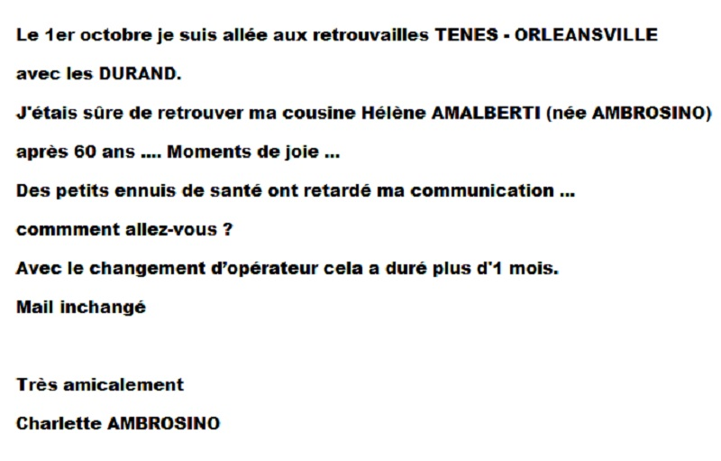 Message de Charlette AMBROSIO