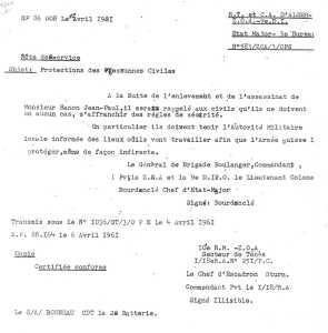 Note de service du  Colonel BOURDANCLE et du Chef d'Escadron STURM le 4 Avril 1961