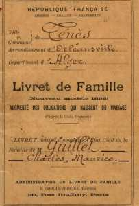 livret de famille Maurice GUILLET