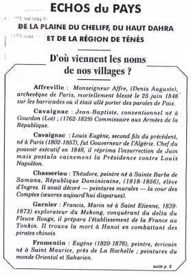 le nom de nos villages AFFREVILLE CAVAIGNAC CHASSERIAU FROMENTIN