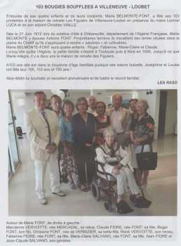 Les 103 ans de Marie BELMONTE-FONT