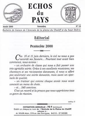 Photo-titre pour cet album: L'ECHO du PAYS  Novembre 2000