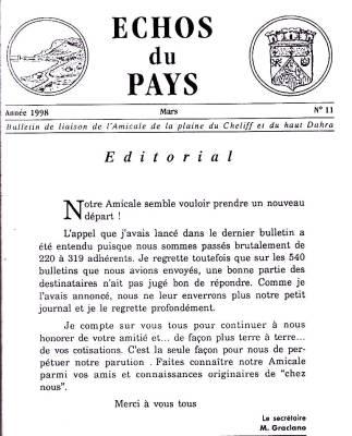 Photo-titre pour cet album: L'ECHO du PAYS  Mars 1998