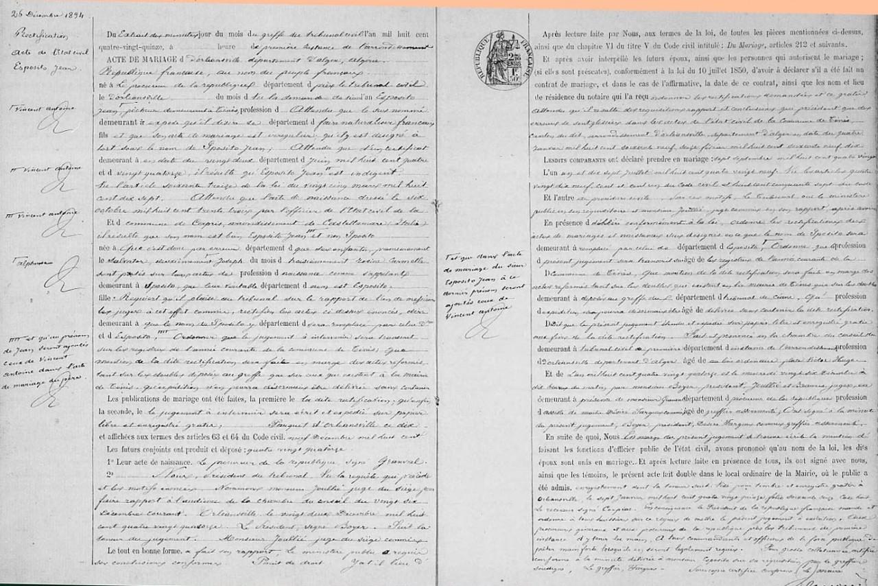 Rectfication d'Etat Civil concernant Jean ESPOSITO en cours de naturalisation