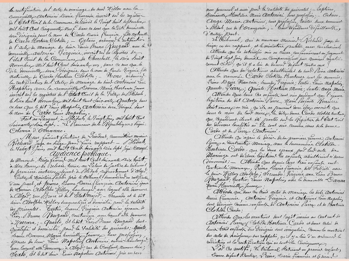 Rectification d'Etat Civil concernant Jean Baptiste ANTONINI Tribunal de Blida