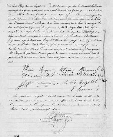Mariage de Edmond ETIENNE avec Marie BOYER (suite)
