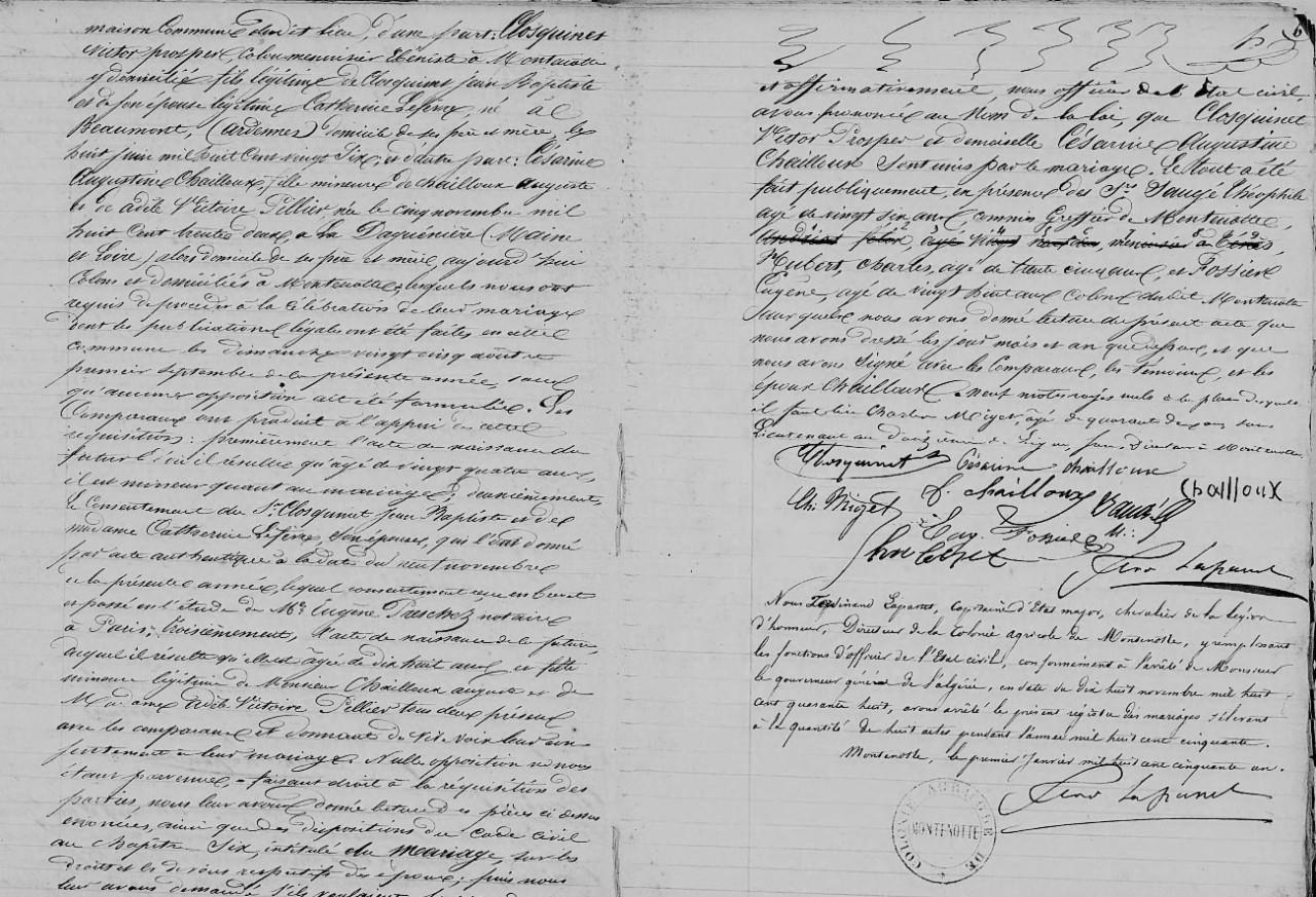 MONTENOTTE - 1850 - Mariages ----