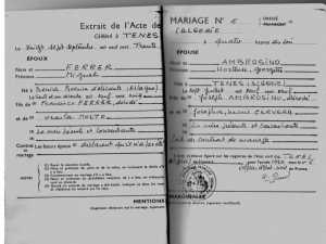 Acte de Mariage de  FERRER Miguel avec Hortense AMBROSINO ---- le 27 Septembre 1930
