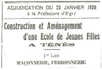 1926 - TENES Construction de l'Ecole de Filles