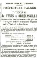 TENES - 1920 construction de la Gare