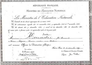 KOUADRI M'Hamed diplome de l'Education Nationale 1949