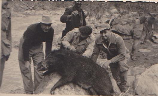 la chasse aux sangliers dans le Bissa Paul CARTEAUX Basile JONET Jean-Pierre BERGONZOLI