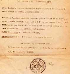 Laisser-Passer de la Gendarmerie pour Francis BONHOMME  le 16 Octobre 1961 Gendarme VOIRIN Gendarme ABRIAL