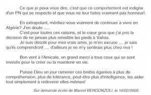 Lettre de Marcel BERGONZOLI