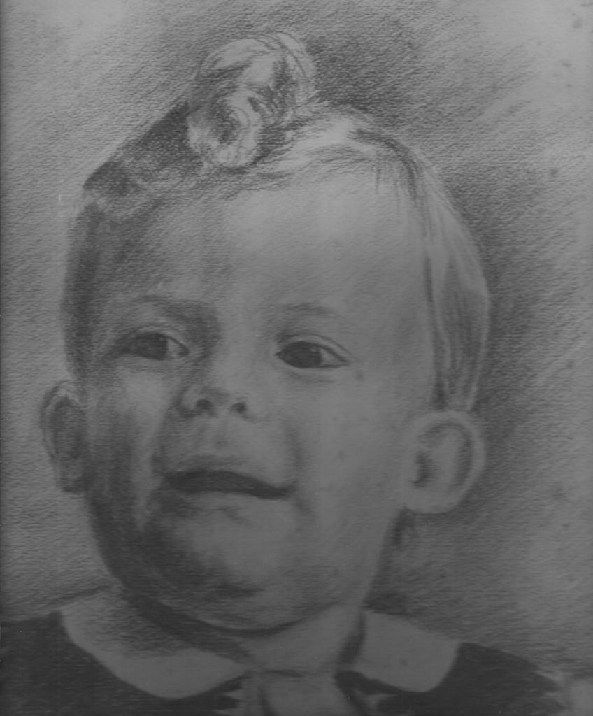 1945 - Daniel MANSION 2 ans - Photo au Fusain