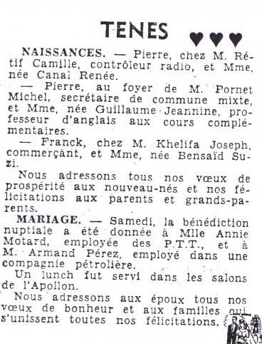 TENES - Fin Octobre 1956 ---- Naissances : Pierre RETIF Pierre PORNET Franck KHALIFA  Mariage : Annie MOTARD avec Armand PEREZ
