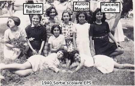 1940 - Sortie Scolaire EPS ---- Paulette BARBIER Aurore MORANT Marcelle CALBO