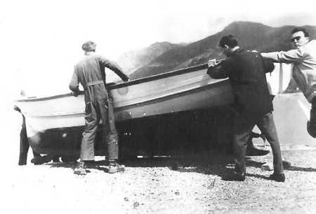 "Lancement du bateau de Marcel BERGONZOLI ""Le BROCHET"" ---- Daniel RAUD Bernard SEROR FERNANDEZ ""Dr ZANDER"""