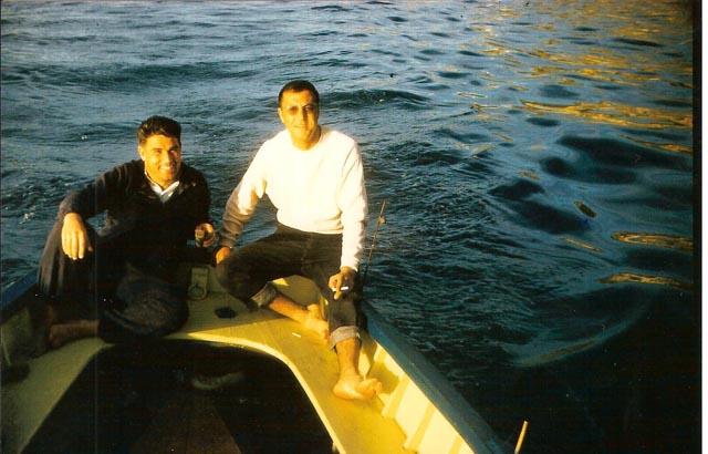 TRAPPE (policier) et Guy ROSET sur  le bateau de Marcel BERGONZOLI