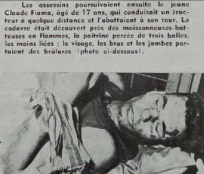 17 JUIN 1955 Assassinat de Claude FIAMA, 17 ans