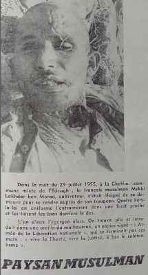 29 Juillet 1955 Commune de LA CHEFFIA Assassinat de MEKKI Lakhdar Ben MERAD Cultivateur
