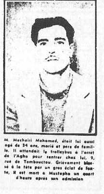 ALGER 3 Juin 1957 ---- MECHERI Mohamed 34 ans