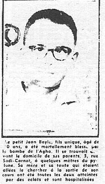 ALGER 3 Juin 1957 ---- Jean BAYLE 10 ans