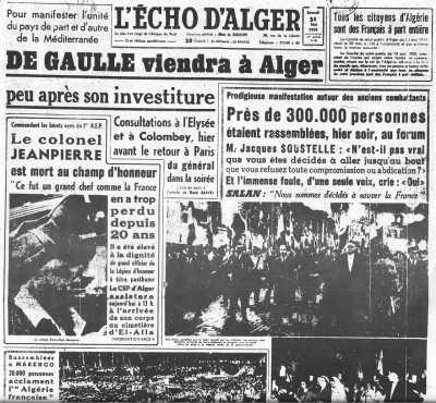 29 Mai 1958 ---- Le Colonel JEANPIERRE est mort au Champ d'Honneur