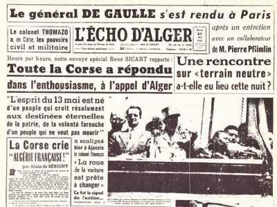 27 MAI 1958 ---- la CORSE bascule dans l'insurrection