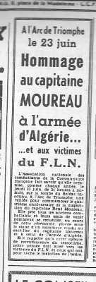 14 Juin 1960 ---- Hommage au Capitaine MOUREAU