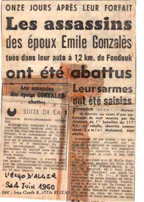 4 Juin 1960 - LE FONDOUK Les assassins de la famille GONZALES abattus par le 117eme RI