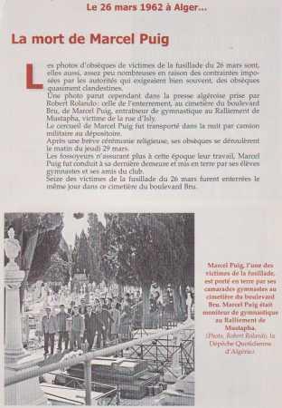 La Mort de Marcel PUIG ALGER, 26 Mars 1962