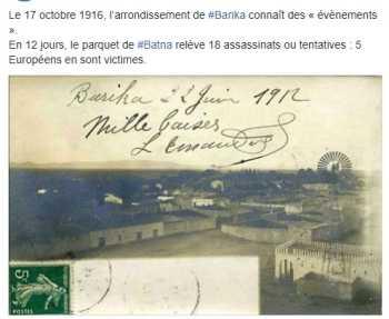 17 Octobre 1916 ---- BARIKA : 18 assassinats ou tentatives