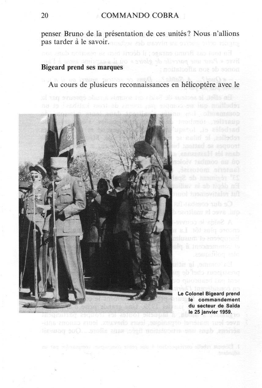 BIGEARD prend le commandement du secteur le 25 janvier 1959