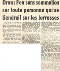 1962 FEU sans sommation sur toute personne qui se tiendrait sur less terrasses